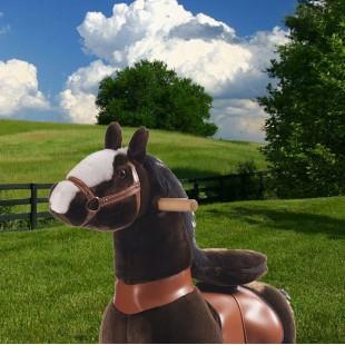 Ponycycle donkerbruin met witte bles met Geluid (Klein formaat)