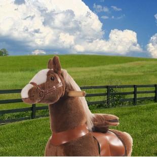 Ponycycle lichtbruin met witte bles met Geluid (Klein formaat)